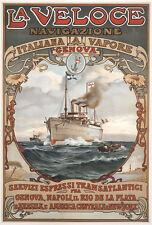 La Veloce Navigazione Genova Dampfschiff Transatlantik Brasilien Plakate A1 278
