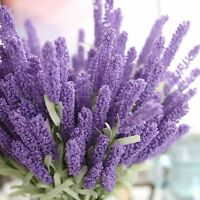 12 Heads Artificial Fake Bouquet Lavender Leaf  Flower Wedding Party Home Decor