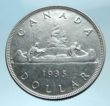 1935 CANADA under UK King GEORGE V Voyagers Genuine Silver Dollar Coin i78214