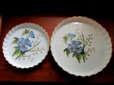 """2 SPODE ENGLAND STAFFORD FLOWERS 10 & 14"""" QUICHE DISH OVEN TO TABLE LIDA ACACIA"""