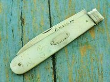 ANTIQUE 1800'S STERLING SILVER MOP PEARL FOLDING FRUIT POCKET KNIFE KNIVES TOOLS