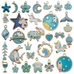 31pc Mixed Enamel Charms Pendants Jewellery Making Earrings Bracelets Gold Plate