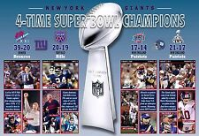 NEW YORK GIANTS 4-TIME SUPER BOWL CHAMPIONS COMMEMORATIVE POSTER
