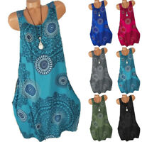 Boho Womens Floral Sleeveless Summer Midi Dress Casual Loose Party Vest T Shirts