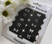 Nail Art Diecut Stencil Guide Bows Bow-Ties Ribbons Tips Manicure Stickers S12