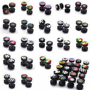 1pc  Fake Cheater Ear Plug Earring Acrylic Flesh Stretcher 8MM Various Designs