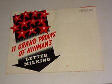 1940's Hinman Milking Machine Co. Oneida, Ny poster brochure Better Milking