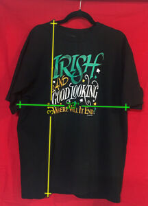 Vintage Irish & Good Looking T Shirt XL Fruit of the Loom Peacock Papers USA