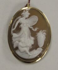 (Ma2) 38.0mm x 29.0mm Shell Cameo 18k 7.0g Yellow Gold Pendant / Brooch
