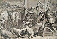 3 GRAVURES. FABLES CHOISIES (...) PAR LA FONTAINE. J.B. OUDRY. FRANCE. XVIIIE