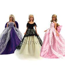 Lot 3 Pcs Princess Wedding Party Clothes Dress Wears Outfit Sets For Barbie Doll