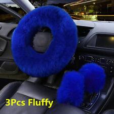 3Pcs Universal Furry Fluffy Thick Fur Wool Car Steering Wheel Cover Gem Blue