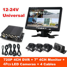 4CH Panoramic Car Mobile DVR Security Video Recorder+4 CCD Camera+LCD Monitor