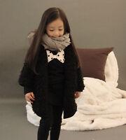 Fashion Girls Kids Coat Jacket Black Clothes Luxurious Children Size 2-7 Years