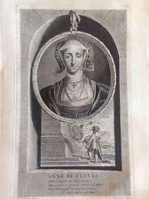 ANNE DE CLEVES duchessa tedesca Ritratto. Vermeulen. Acquaforte XVIII secolo