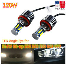 120W H8 6000K LED Angel Eye Halo Ring Headlight Bulbs For BMW E92 E93 E63 E70