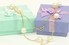 """14k Yellow Gold Genuine White Pearls by the yard 18"""" Necklace"""