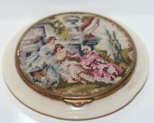 Vintage Compact Vanity Case Victorian Scene Petit Point Top Beautiful