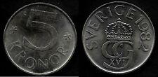 SUEDE  5 KRONER 1982  FDC / UNC