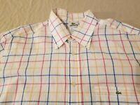 Mens Lacoste Dress Shirt 44 L Large White Button Cotton