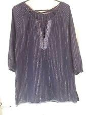 Women's Size Medium George Blue & Silver Striped Bo Ho Top