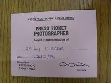 22/02/1984 Ticket: Football League Cup Semi-Final, Aston Villa v Everton [Press
