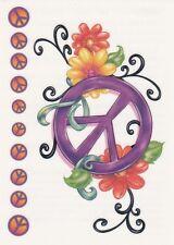 Small sheet tats peace & flowers Temporary Tattoo NEW!