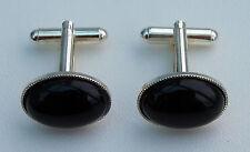 Black Onyx Cabochon Gemstone Cufflinks With Silver Plated Backs.