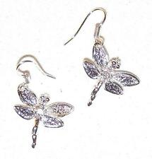 & Wires Dragonflies Earrings Tiny Silverplate Insects