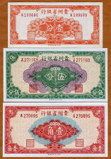 Set, China, Kweichow, 1;5;10 cents 1949 S2461;S2462;S2463 aUNC to UNC- > Rare