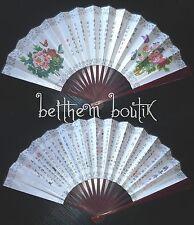 Asie : EVENTAIL Déco Chinois en Bambou - Fleur & Papillon - 2 faces Recto Verso