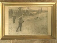 Antique Gold Gilt Framed Aug 1906 Print Colliers Hunting Dogs AB Frost apx 24x16