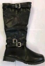 Platino Black Buckle Ladies Boots Size UK 5