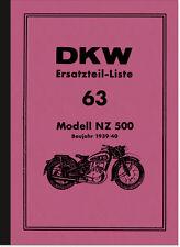 DKW NZ 500 Ersatzteilliste Ersatzteilkatalog Teilekatalog NZ500 Spare Parts List