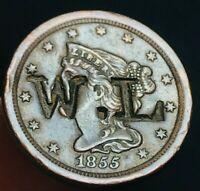 1855 Braided Hair Half Cent 1/2C High Grade COUNTERSTAMPED W.L. US Coin CS2067