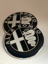ALFA ROMEO GTV SPIDER Car Black Front Bonnet/Boot Badge/Emblem 74mm SET OF 2