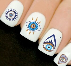 Blue Aztec Boho Summer Nails Nail Art Decals Water Transfers Stickers V9
