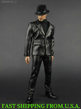 "1/6 Scale Black Leather Business Suit Set For 12"" Hot Toys Male Figure ❶USA❶"