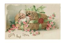 With Fond Love Postcard Baby w/ Pink Roses Embossed Ellen Clapsaddle Not Signed