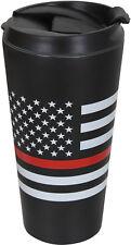 Thin Red Line Travel Coffee Mug Insulated Cup 16oz Black Thermos US Flag