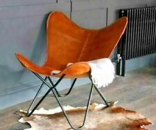 Brown Leather Butterfly Arm Chair Handmade with Powder Coated Iron Folding Stand