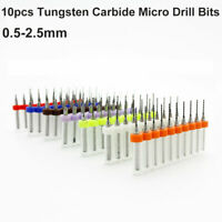 Tungsten Carbide Micro Drill Bits pack of 10 for PCB Metals Stone 0.5-2.5mm