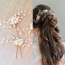 Exquisite Pearl Flower Crystal Bun Bridal Wedding Stick Hair Comb 1X