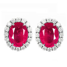 2.40Ct Natural Burmese Red Ruby Oval Shape Women's Studs In 925 Sterling Silver