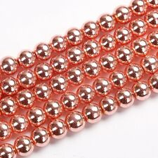 Approx 63 6mm Rose Gold Plated Haematite Round Spacer Beads