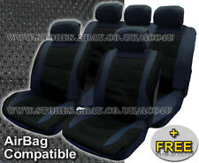 Black Mesh Racing Look Airbag Compatible Car Front Rear Seat Covers Full Set