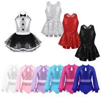 Girls Sequins Jazz Ballet Leotard Dance Dress Latin Tutu Skirt Dancewear Costume