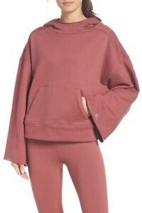 ALO Womens Low Key Wide Sleeve Hoodie Top Sweatshirt Pink XS, S  NWT L@@K