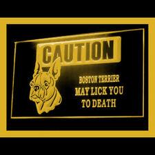 210160 Caution Boston Terrier dog Lick fierce Display LED Light Sign