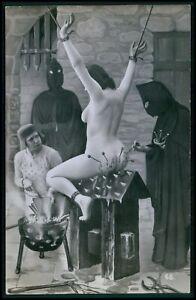 Biederer French nude woman torture tableau fantasy original c1925 photo postcard
